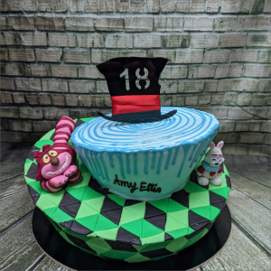 Tortendekoration Alice im Wunderland Set Alice-im-Wunderland-Grinsekatze-Hut-Zylinder-weisser-Hase-modelliert-Handmodelliert-Figuren-Fondant-Hochzeitstorten-Geburtstagstorten-Torten-Tuning-Suhl