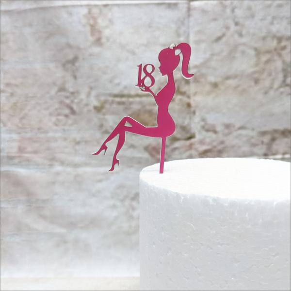 Cake-Topper-pink-M-dchen-18-Geburtstag-Aufstecker-Torten-Tuning-Th-ringen-Hochzeitstorten