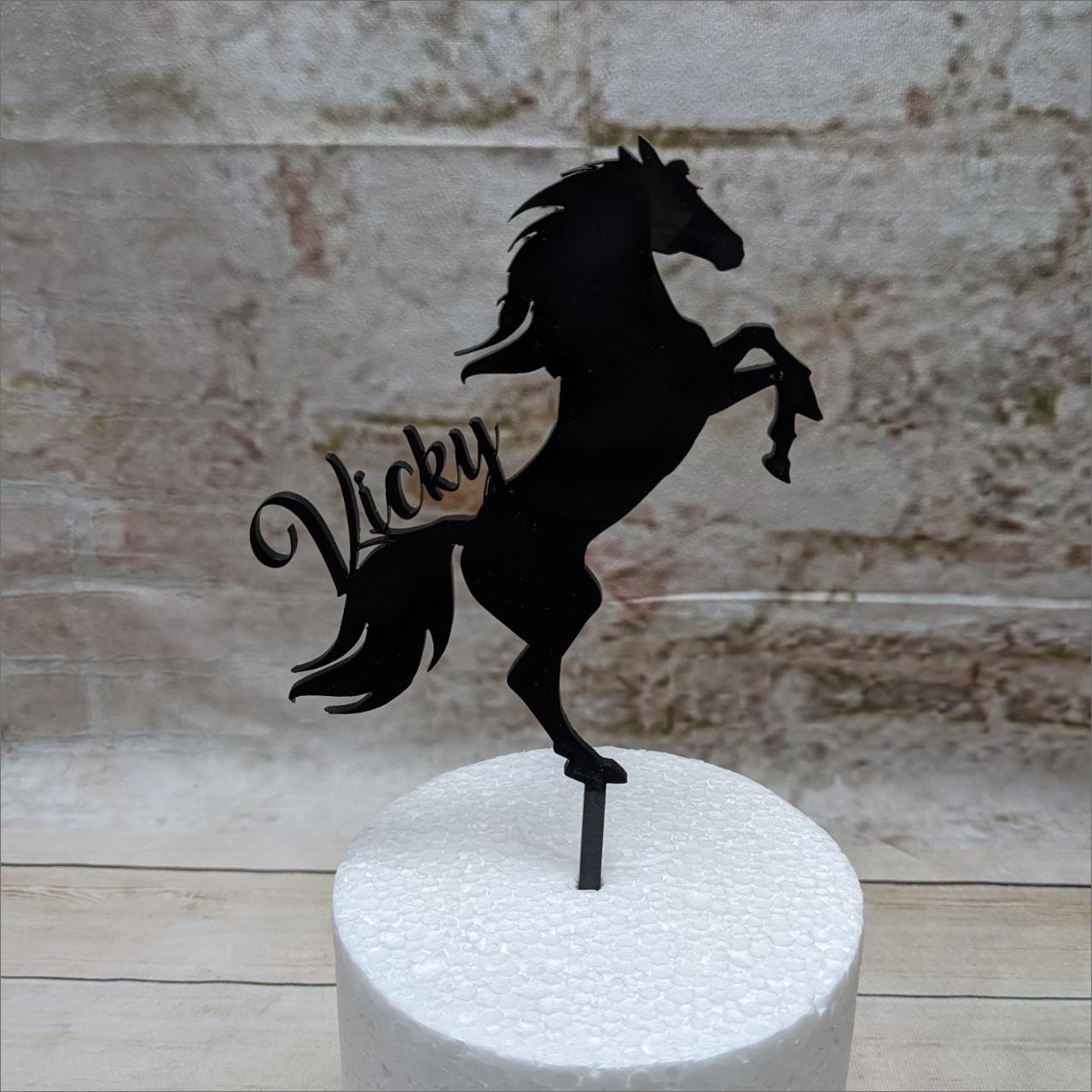 Pferd-Cake-Topper-schwarz-individuelle-Namen-Schriftzug-Aufstecker-Torten-Tuning-Th-ringen-Hochzeitstorten