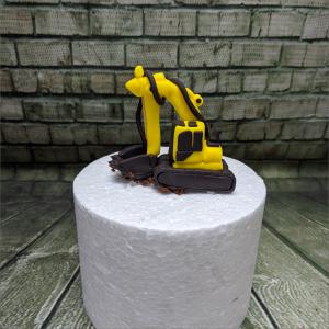 Tortendekoration Gelber Bagger klein gelber-Bagger-Baufahrzeug-Geburtstagstortemodelliert-Handmodelliert-Figuren-Fondant-Hochzeitstorten-Geburtstagstorten-Torten-Tuning-Hildburghausen