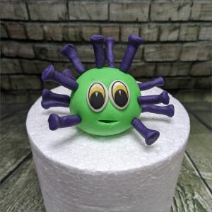 Tortendekoration kleiner Covid Virus kleiner-Covid-Geburtstagstortemodelliert-Handmodelliert-Figuren-Fondant-Hochzeitstorten-Geburtstagstorten-Torten-Tuning-Neudietendorf