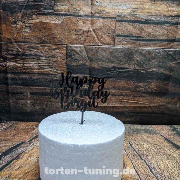 Cake Topper Happy Birthday mit Name Geburtstag Acryl Cake Topper Tortendekoration Tortenaufsteller Happy Birthday Aufstecker Torte Schriftzug online bestellen Torten Tuning Backzubehorshop