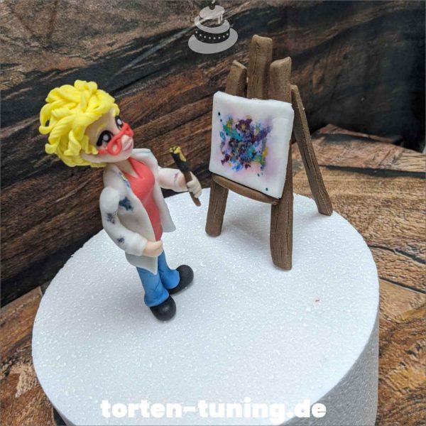 Malende Frau modellierte Figur Fondantfigur Tortenfigur Torte Torten Tuning Geburtstagstorte Suhl Hochzeitstorte Kindertorten Babytorten Fondant online