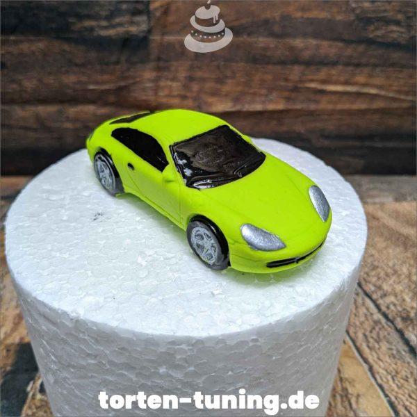 Porsche neon grün modellierte Figur Fondantfigur Tortenfigur Torte Torten Tuning Geburtstagstorte Suhl Hochzeitstorte Kindertorten Babytorten Fondant online