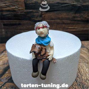 Tortenfigur Oma mit Dackel