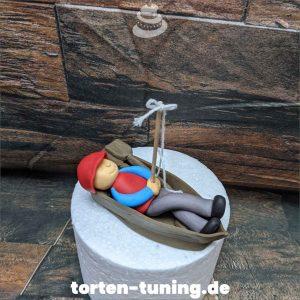 Tortendekoration Angler im Boot