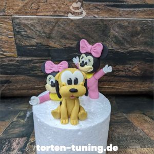 Tortendekoration Baby Pluto Minnie Mouse Baby Pluto Minnie Mouse Tortendekoration online bestellen Fondantfiguren modellierte essbare Figuren aus Fondant Backzubehör Tortenfiguren Tortenfigur individuelle Tortendeko