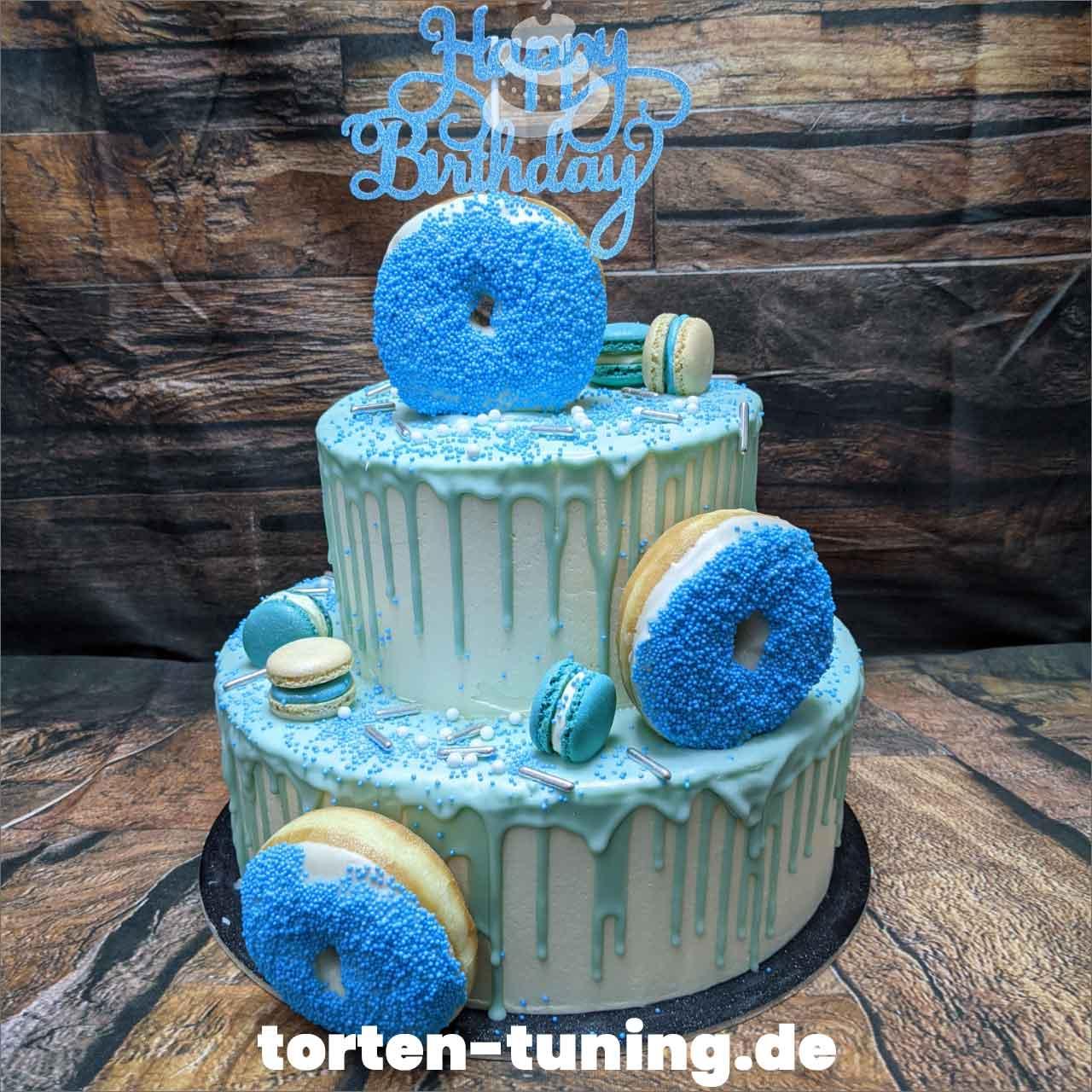 Donut blau Macarons Dripcake Obsttorte Geburtstagstorte Motivtorte Torte Tortendekoration Torte online bestellen Suhl Thüringen Torten Tuning Sahnetorte Tortenfiguren Cake Topper