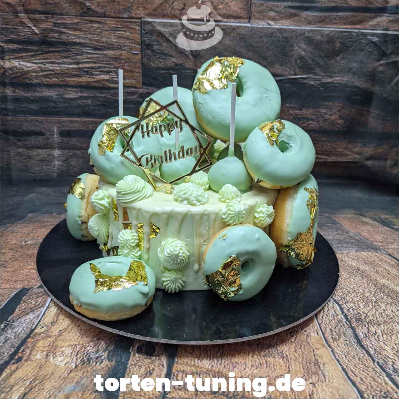 Donuts Mintgrün blattgold Dripcake Obsttorte Geburtstagstorte Motivtorte Torte Tortendekoration Torte online bestellen Suhl Thüringen Torten Tuning Sahnetorte Tortenfiguren Cake Topper