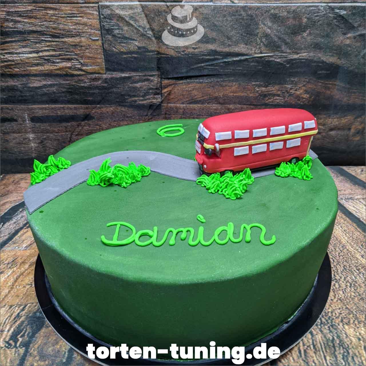 Doppeldeckerbus Obsttorte Geburtstagstorte Motivtorte Torte Tortendekoration Torte online bestellen Suhl Thüringen Torten Tuning Sahnetorte Tortenfiguren Cake Topper