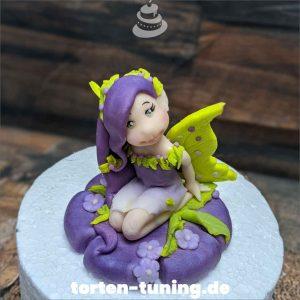 Tortendekoration Elfe Fee lila
