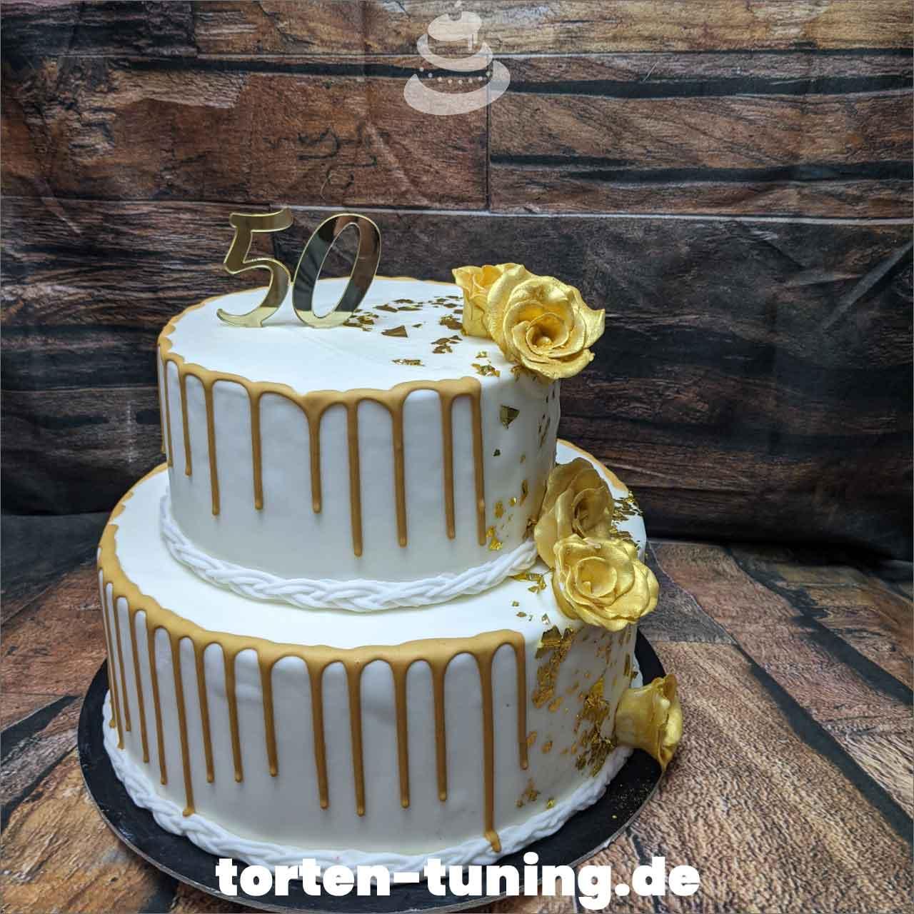 Goldene Hochzeit goldener Drip Dripcake Obsttorte Geburtstagstorte Motivtorte Torte Tortendekoration Torte online bestellen Suhl Thüringen Torten Tuning Sahnetorte Tortenfiguren Cake Topper