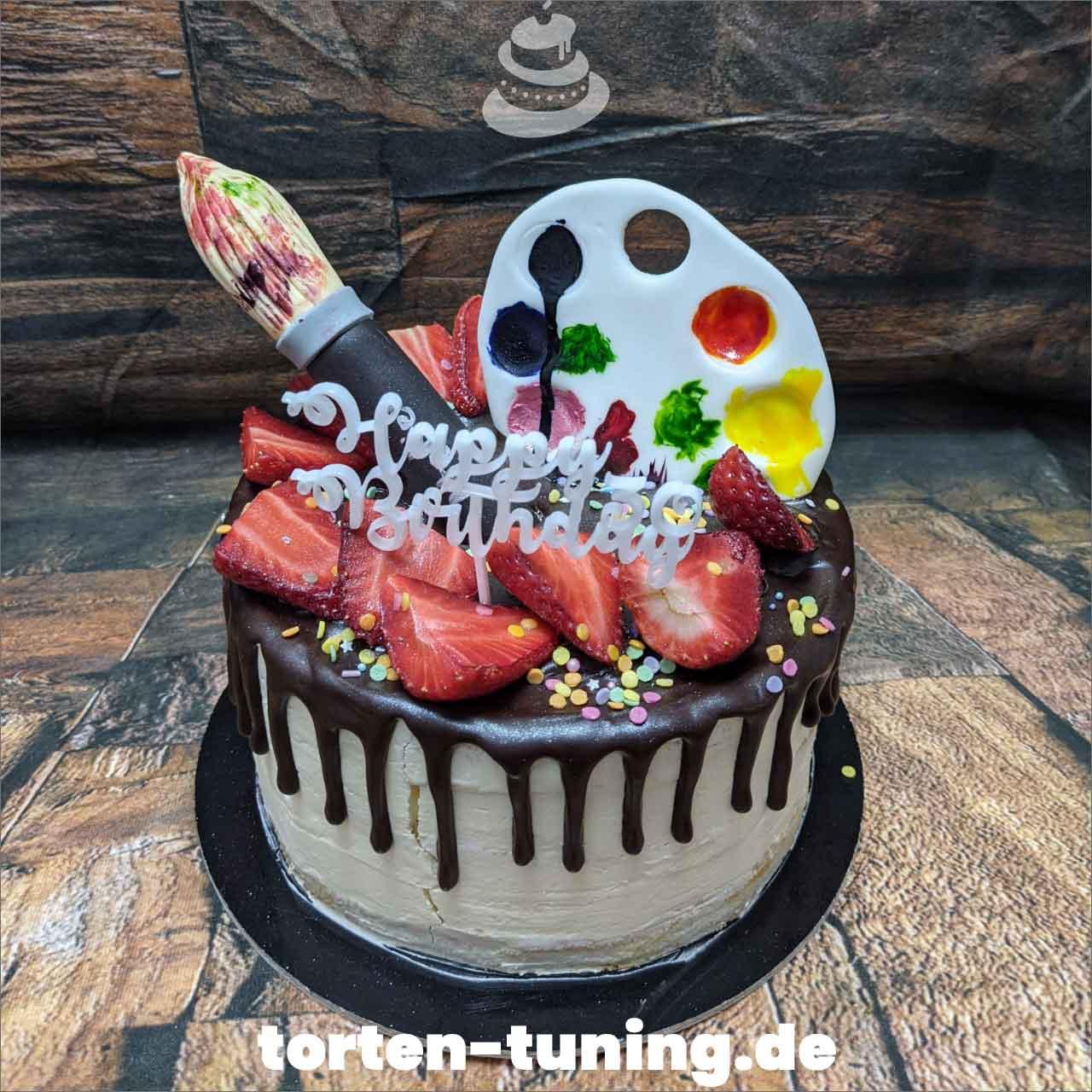 Künstlertorte Pinsel Palette Dripcake Obsttorte Geburtstagstorte Motivtorte Torte Tortendekoration Torte online bestellen Suhl Thüringen Torten Tuning Sahnetorte Tortenfiguren Cake Topper