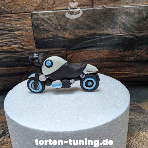 Motorrad BMW Tortendekoration online bestellen Fondantfiguren modellierte essbare Figuren aus Fondant Backzubehör Tortenfiguren Tortenfigur individuelle Tortendeko
