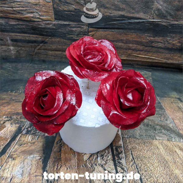 Wafer Paper Rose rot Rosen rot Wafer Paper Tortendekoration online bestellen Fondantfiguren modellierte essbare Figuren aus Fondant Backzubehör Tortenfiguren Tortenfigur individuelle Tortendeko