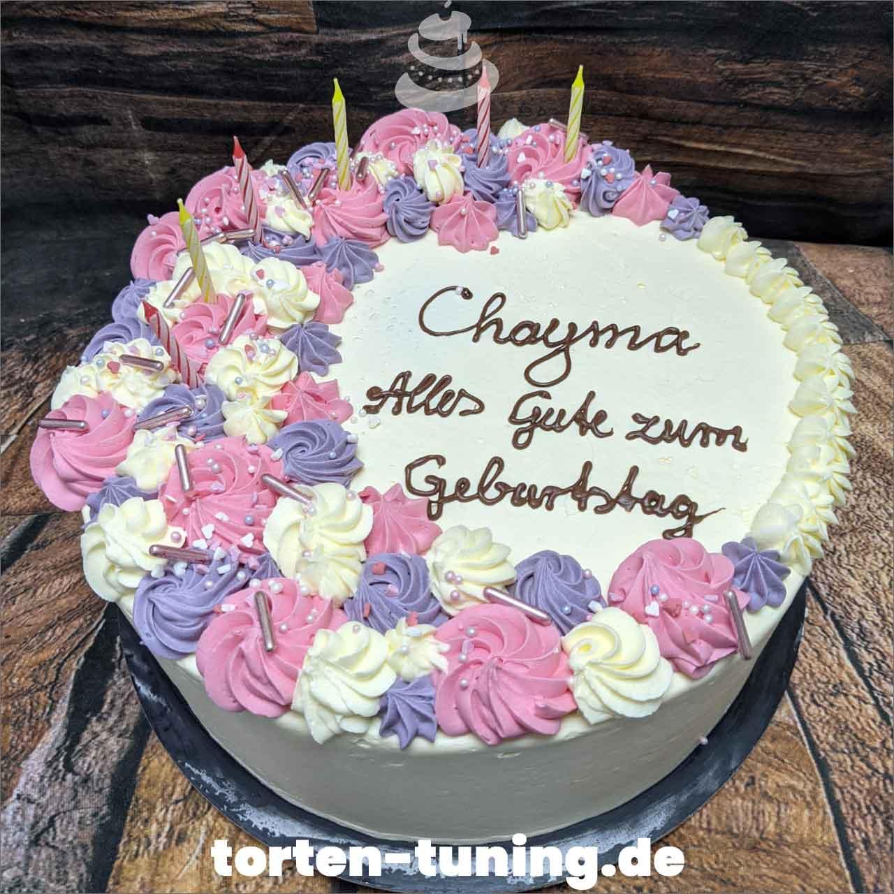 Spritzdekor rosa lila weiß Dripcake Obsttorte Geburtstagstorte Motivtorte Torte Tortendekoration Torte online bestellen Suhl Thüringen Torten Tuning Sahnetorte Tortenfiguren Cake Topper