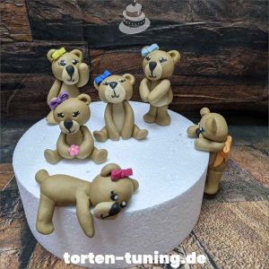 Tortendekoration Teddybären mit Schleife