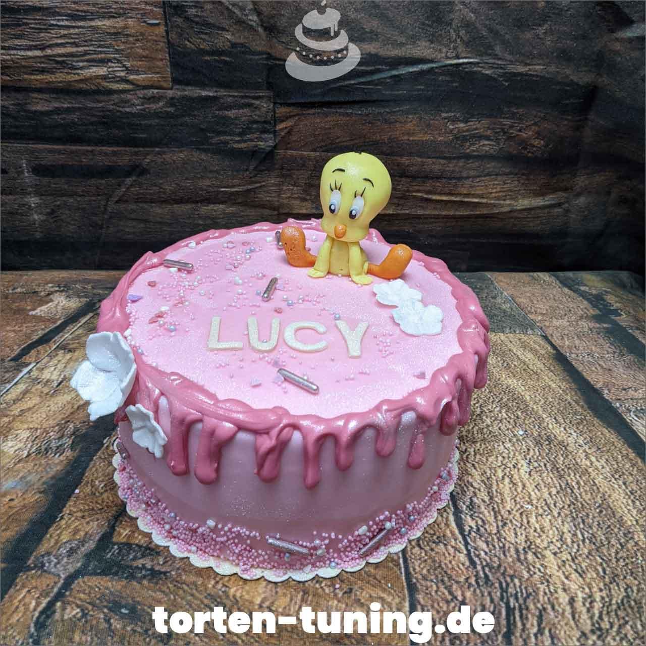 Tweety rosa Dripcake Obsttorte Geburtstagstorte Motivtorte Torte Tortendekoration Torte online bestellen Suhl Thüringen Torten Tuning Sahnetorte Tortenfiguren Cake Topper