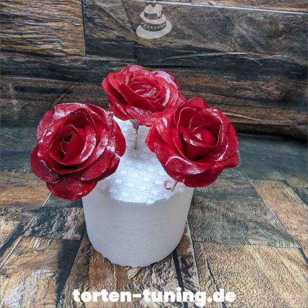 Wafer Paper rosen Rot Tortendekoration online bestellen Fondantfiguren modellierte essbare Figuren aus Fondant Backzubehör Tortenfiguren Tortenfigur individuelle Tortendeko