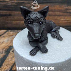 Tortendekoration Schäferhund schwarz