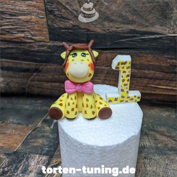 Tortendekoration Giraffe mit Zahl Cake topper modellierte Figur Fondantfigur Tortenfigur Torte Torten Tuning Geburtstagstorte Suhl Hochzeitstorte Kindertorten Babytorten Fondant online