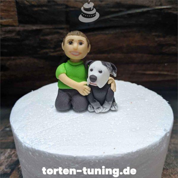 Tortendekoration Kind mit Hund