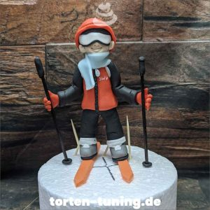 Tortendekoration Skifahrer