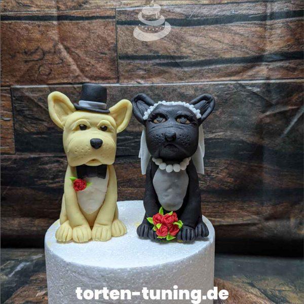 Tortendekoration Doggen Brautpaar